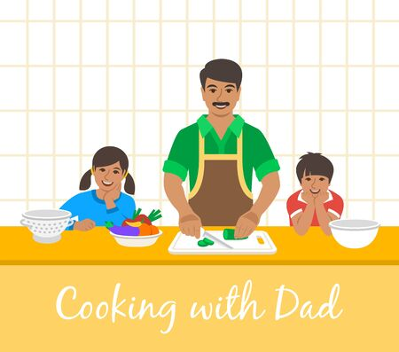 Indian family cooking together. Dad with two happy kids cuts vegetables for the dinner. Flat cartoon illustration. Little son and daughter help father cook meals in the kitchen. Stay home concept