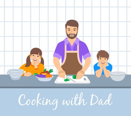Family cooking together. Dad with two happy kids cuts vegetables for the dinner. Flat cartoon illustration. Little son and daughter help father cook meals in the kitchen. Stay home concept