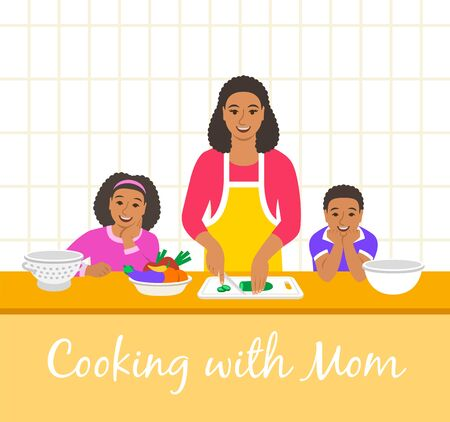 Black family cooking together. Mom with two happy kids cuts vegetables for the dinner. Flat cartoon illustration. Little son and daughter help mother cook meals in the kitchen. Stay home concept
