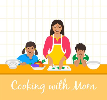 Indian family cooking together. Mom with two happy kids cuts vegetables for the dinner. Flat cartoon illustration. Little son and daughter help mother cook meals in the kitchen. Stay home concept