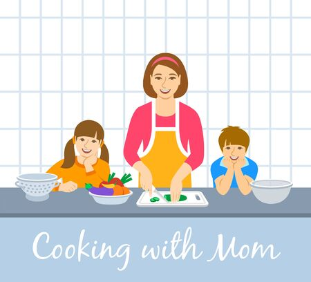 Family cooking together. Mom with two happy kids cuts vegetables for the dinner. Flat cartoon illustration. Little son and daughter help mother cook meals in the kitchen. Stay home concept Ilustração