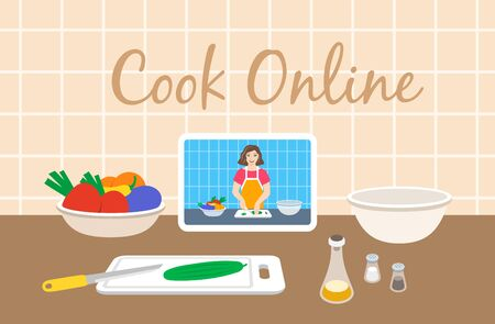 Online culinary class. Young woman cuts fresh vegetables for salad. Preview on tablet screen. Ingredients for dinner on table. Cooking video tutorial on Internet. Flat vector cartoon illustration