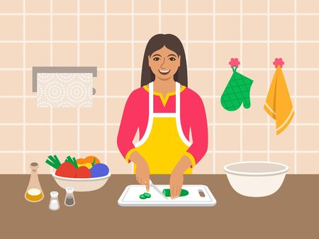 Young modern indian woman cuts fresh vegetables for salad or ragout in the kitchen. Flat vector cartoon illustration. Mom cooks dinner for family. Cooking at home. Preparing vegetarian diet meal