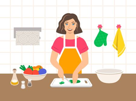 Young modern woman cuts fresh vegetables for salad or ragout in the kitchen. Flat vector cartoon illustration. Mom cooks dinner for family. Cooking at home. Preparing vegetarian diet meal Ilustração