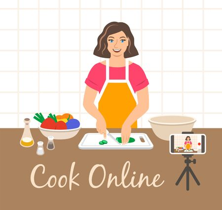 Girl filming on her phone cooking video tutorial for culinary blog. Online culinary class. Young woman cuts fresh vegetables for salad. Flat vector cartoon illustration. Internet blogger concept.