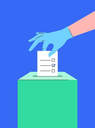 Voting during the coronavirus pandemic. Human hand in protective medical glove puts ballot into a ballot box. Safety election concept. Flat linear illustration. Prevention of corona virus spread
