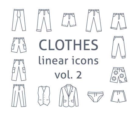 Men clothes flat line vector icons. Simple linear symbols of male basic garments. Main categories for online shop. Outline infographic elements. Contour silhouettes of pants, shorts, business suit