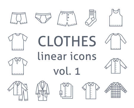 Men clothes flat line vector icons. Simple linear symbols of male basic garments. Main categories for online shop. Outline infographic elements. Contour silhouettes of underwear, shirts, home clothes