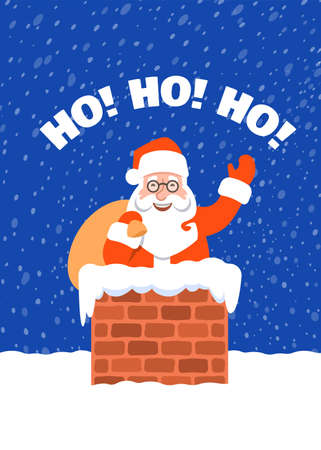 Santa Claus with bag of presents stuck in a chimney on a roof. Cartoon vector illustration. Snowy Christmas Eve night. Funny Christmas greeting card with Ho ho ho inscription. Cute character pose. 向量圖像