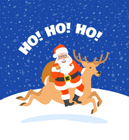 Santa Claus riding Christmas deer and holding a bag with presents. Cartoon vector illustration. Snowy Christmas Eve night. Funny Christmas greeting card with Ho ho ho inscription. Cute character.