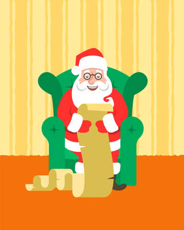 Santa Claus sits in a cozy chair at home and reads Naughty or Nice Kids List. Cartoon vector illustration. Funny Christmas greeting card. Cute character. Home interior background.