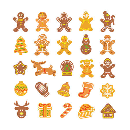 Christmas gingerbread cookies collection. Simple flat vector icons of baked gingerbread men, girl, Santa Claus, deer, snowflake, snowman, present, mitten, bell, Santa hat and other holiday symbols