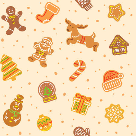 Christmas gingerbread cookies seamless vector pattern. Simple icons of gingerbread man, Santa Claus, deer, snowflake, snowman and other holiday symbols. Festive background, wallpaper, wrapping paper