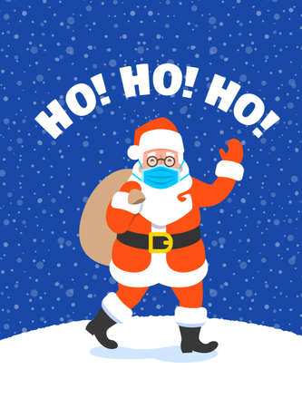 Santa Claus in medical mask with a bag full of presents waving hand and going to kids. Cartoon vector illustration. Snowy Christmas Eve night. Coronavirus prevention. Funny Christmas greeting card
