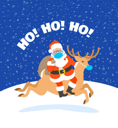 Santa Claus in medical mask riding Christmas deer and holding a bag with presents. Cartoon vector illustration. Coronavirus prevention. Snowy Christmas Eve night. Funny Christmas greeting card 向量圖像