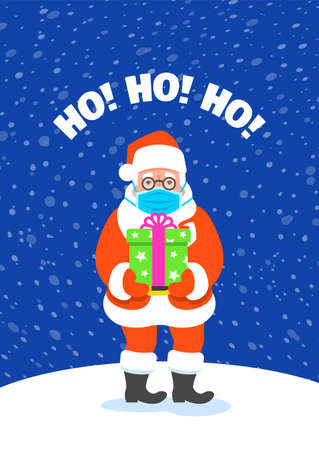 Cute Santa Claus in medical mask standing on snow and holding a present in gift box. Cartoon vector illustration. Coronavirus prevention. Snowy Christmas Eve night. Funny Christmas greeting card