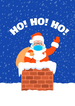 Santa Claus in medical mask with bag of presents stuck in a chimney on a roof. Cartoon vector illustration. Coronavirus prevention. Snowy Christmas Eve night. Funny Christmas greeting card 向量圖像