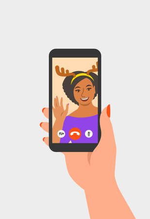 Christmas and New Year celebration together with friend video call. Young black girl in deer costume congratulates her friend by online videoconference app on phone. Virtual party cartoon illustration