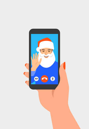 Christmas and New Year celebration together with friend video call. Young man in Santa costume congratulates his friend using online videoconference app on phone. Virtual party cartoon illustration 向量圖像