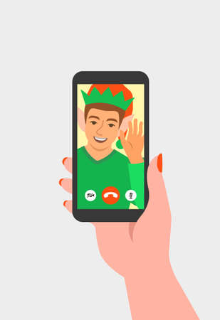 Christmas, New Year celebration together with friend video call. Young man in Christmas elf costume congratulates his friend by online videoconference app on phone. Virtual party cartoon illustration