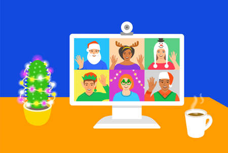 Christmas and New Year celebration together with friends video call. Young people in costumes congratulate each other using online videoconference app on computer. Virtual party cartoon illustration