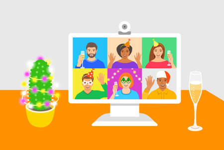 New Year celebration together with friends video call. Young people drink champagne and congratulate each other using online videoconference app on computer. Virtual party cartoon illustration