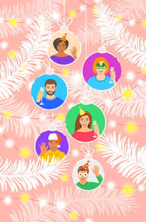 Happy New Year and Merry Christmas festive banner. Happy young people, men and women, congratulate each other on winter holidays. Cheerful portraits in Christmas balls hang among the spruce branches. 向量圖像