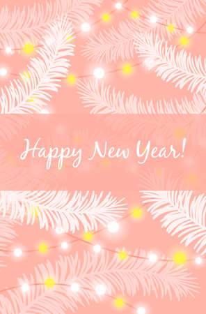 Happy New Year greeting card. White spruce branches and sparkling lights of garland on pink delicate background. Elegant light backdrop for winter holiday greetings. Festive postcard template