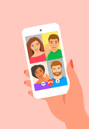Friends online video conference by smartphone. Young people say hi to each other virtually in mobile video call app. Flat cartoon illustration. Social distance during coronavirus quarantine.