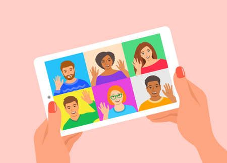 Friends online video conference by tablet computer. Young people say hi to each other virtually in mobile video call app. Flat cartoon illustration. Stay in touch with your friends during quarantine.