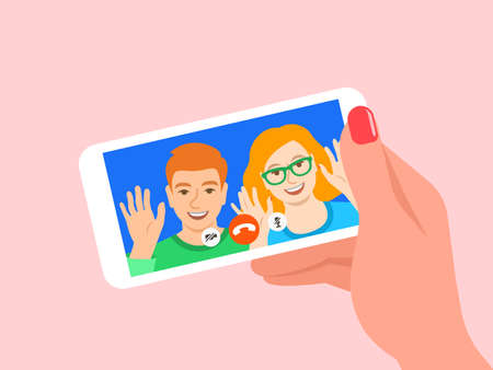Online video call by smartphone. Young couple, girl and boy say hi to their friend virtually in mobile social media app. Flat cartoon illustration. Social distance during coronavirus quarantine.