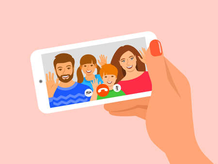 Family online video call by smartphone. Happy family, mom, dad and kids say hi virtually in mobile video call app. Flat cartoon illustration. Stay in touch with your loved ones at corona quarantine.