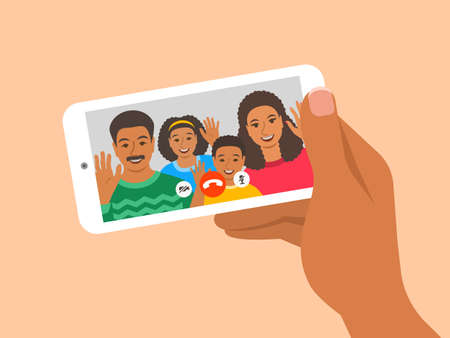 Family online video call by smartphone. Happy black family, mom, dad and kids say hi virtually in mobile video call app. Flat cartoon illustration. Stay in touch with your loved ones at quarantine. 向量圖像