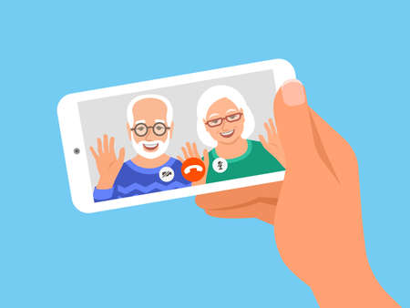 Family online video call by smartphone. Grandparents, grandfather and grandmother say hi virtually in mobile video call app. Flat cartoon illustration. Stay in touch with your loved ones