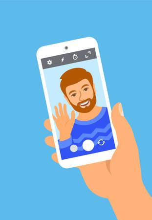 Modern selfie concept. Flat vector illustration. Young man posing for selfie and holding smart phone in his hand. Handsome man takes a photo of himself by mobile phone camera for social media 向量圖像