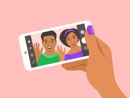 Modern selfie concept. Flat vector illustration. Young couple posing for selfie and holding smart phone in a hand. Black woman and man take photo of themselves by mobile phone camera for social media 向量圖像