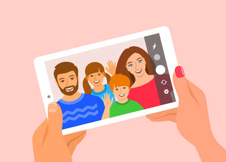 Modern family selfie concept. Flat vector illustration. Young family posing for selfie and holding mobile tablet in hands. Mom, dad and kids take photo of themselves by tablet camera for social media