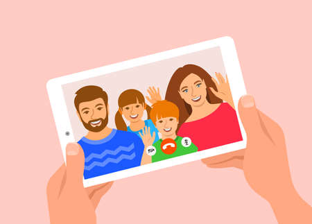 Family online video call by tablet. Happy family, mom, dad and kids say hi virtually in mobile video call app. Flat cartoon illustration. Stay in touch with your loved ones at corona quarantine.