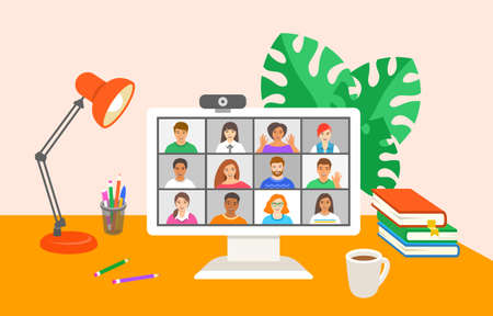 Friends online video conference by computer. Young people chat with each other virtually in video call app. Flat cartoon illustration. Work at home and stay in touch with your team during quarantine