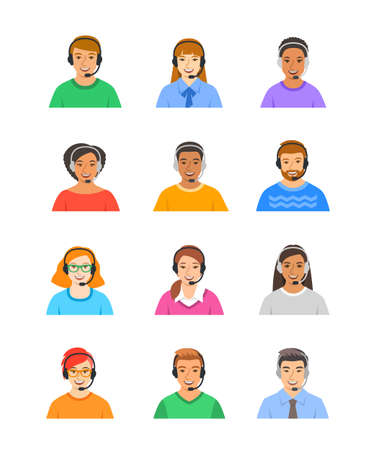 Call center customer support operators. Smiling faces of young client help consultants, men and women. Caucasian, African, Asian agents of contact center. Flat vector avatars
