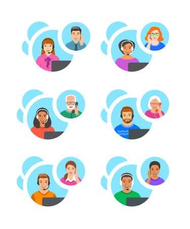 Customer support operators talk by phone with clients. Call center consultants, men and women of different races answer the questions of customers. Online shop managers help line concept. Flat banners 向量圖像