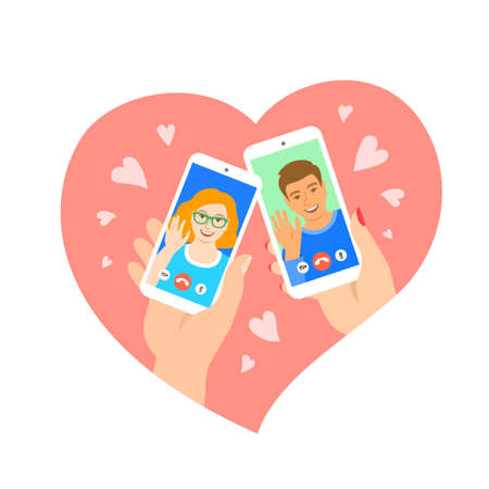 Dating online young couple video call flat concept. Find your love on internet dating app concept. Boy and girl have virtual date using smartphones. Happy Valentines day. Cartoon vector illustration