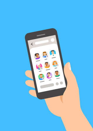 A person hand-holding smartphone with trendy mobile app for web communication