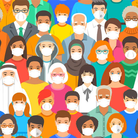 Random people in medical masks flat vector seamless pattern. Large multiracial group of people wearing protective masks, men, women, young, senior, adults, kids. Concept of New normal