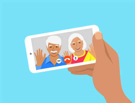 Family online video call by smartphone. Indian grandparents, grandfather and grandmother say hi virtually in mobile video call app. Flat cartoon illustration. Stay in touch with your loved ones