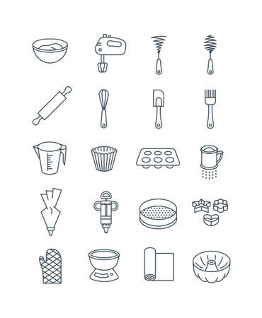 Home baking tools. Flat vector thin line icons. Essential kitchen equipment for pastry cooking. Outline pictograms of rolling pin, whisks, cake and bundt pan, cookie cutter, muffin liner, flour sifter