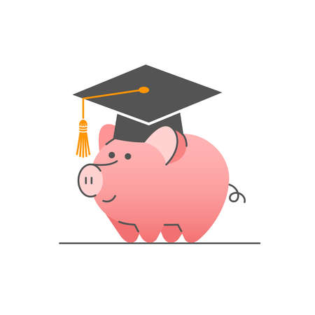 College savings flat linear vector concept. Cute piggy bank in bachelor cap. Student loan icon. Saving money for higher education. Deposit for future career development 向量圖像