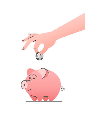Cute piggy bank with hand putting coin into it. Flat vector linear cartoon illustration. Savings or investing concept. Planning retirement icon. Save money for future. Making deposit in bank 向量圖像