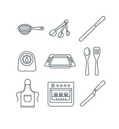 Home baking tools. Flat vector thin line icons. Essential kitchen equipment for homemade pastry cooking. Outline pictograms of sift, measuring spoons, knife, oven, pan, timer, spatula, apron 向量圖像