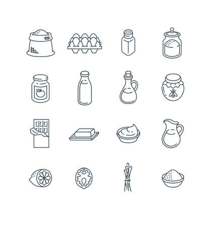Ingredients for baking at home. Raw products for preparing homemade pastry. Thin line icons. Simple outline pictograms of flour, salt, sugar, milk, butter, oil, eggs, jam, honey, chocolate, vanilla